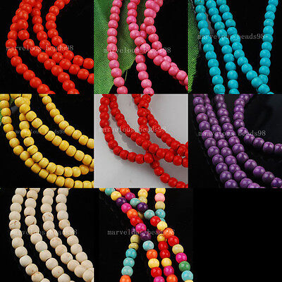 """4mm Howlite Turquoise Gem Round DIY Spacer Beads 15 1/2"""" WB156"""