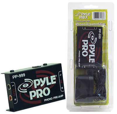 PYLE PRO PP999 Phono DJ Turntable Pre-Amplifier Preamp Audio w/AC Adapt PP-999