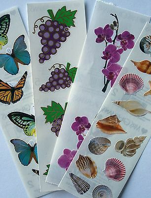 PRETTY Lot of 4 Stickers Shells, Grapes Orchid & MORE Mrs. Grossmans ONE CENT NR