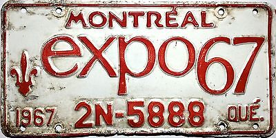 1967 Montreal License Plate Expo67 Metal Quebec Vtg Canada Worlds Fair 2N-5888