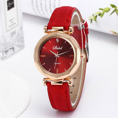 Fashion Women Simple Leather Casual Watches Analog Quartz Crystal Wristwatch Red