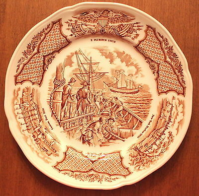 Set of 3 Bread Plates Alfred Meakin Fair Winds in Brown Historical Scenes S4