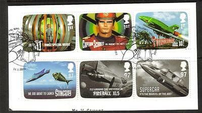GB F/USED 2011 SG3136-41 FAB THE GENIUS OF GERRY ANDERSON SET OF 6 ON PIECE