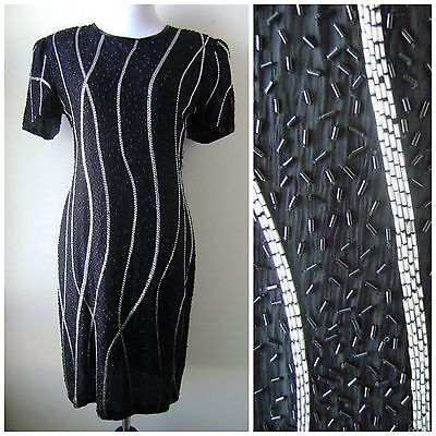 Vtg 1980s SEXY BEADED BLACK SILVER SEQUIN DRESS Sweelo Sz M 8-10 Cocktail Party