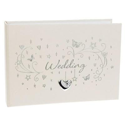 "Wedding Photo Album 6x4"" with silver heart design 72580"