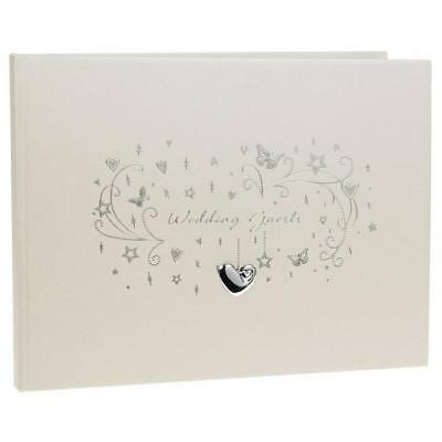 New Wedding Guest Book With Hearts and Butterflies Hardback 72582