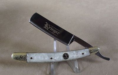 GERMAN STYLE  STRAIGHT RAZOR  - SMALL-PEARL HANDLE UNIQUE!  MORE LISTED