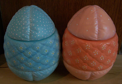 Vintage 2 Large HAND PAINTED Ceramic Quilted 2-Pc Easter Eggs Candy Dishes RARE