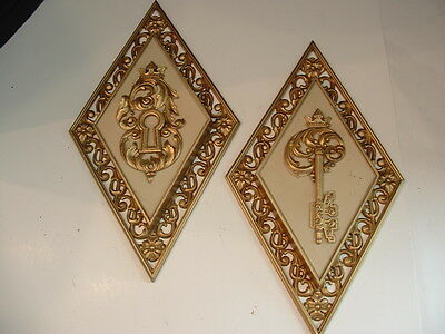 Set 2 (1 Pair) Vintage Dart Ind Diamond Wall Plaques 4271 Key & Lock Made in USA