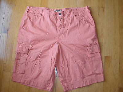 NWT $50 Mens Express Size 38 100% Cotton Coral Casual Shorts Flat Front Long