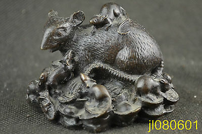 China Handwork Rare Old Collectible Decoration  copper carving mice statue