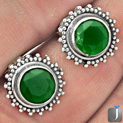 5.33cts GREEN EMERALD QUARTZ 925 STERLING SILVER STUD EARRINGS JEWELRY F10515