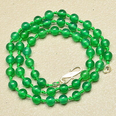 GREEN JADE GEMSTONE 100% SOLID 925 STERLING SILVER NECKLACE 19 3/8""