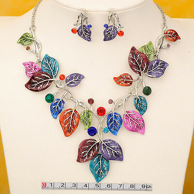 New Leaf Style Gold GP Chain Bib Statement Collar Necklace Earrings Set N17-1