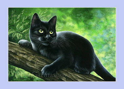 Black Cat Print Night Breeze by I Garmashova