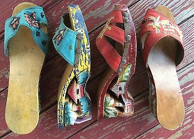 Lot 2 Pairs Vintage WWII Pin Up Carved Heels Wedges Beaded Embroidered
