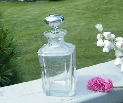 ANTIQUE OLD STERLING SILVER TOP SQUARE GLASS 12 OZ CRUET PERFUME DECANTER BOTTLE