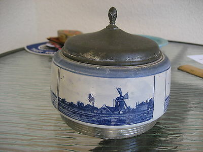 Fantastic Vintage Delft Drippings Jar or Metal Covered Tobacco Humidor?