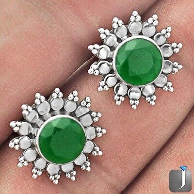 5.17cts GREEN EMERALD QUARTZ 925 STERLING SILVER STUD EARRINGS JEWELRY E95336