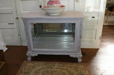 Painted Lilac Light Purple Large Footed Display Case Glass Front & Sides Curio