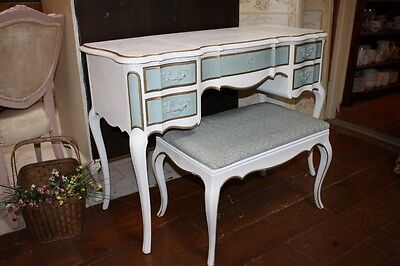 Vintage French Provincial Blue White Gilt Vanity w Bench Pop Up Center Mirror