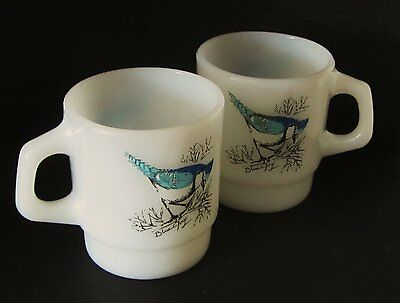 Set of 2 Vintage Fire King Stackable Blue Jay Coffee Mugs