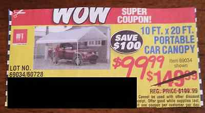 Harbor Freight - SAVE $100 - 10 foot by 20 foot portable car canopy