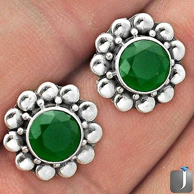 4.25cts GREEN EMERALD QUARTZ 925 STERLING SILVER STUD EARRINGS JEWELRY F25670