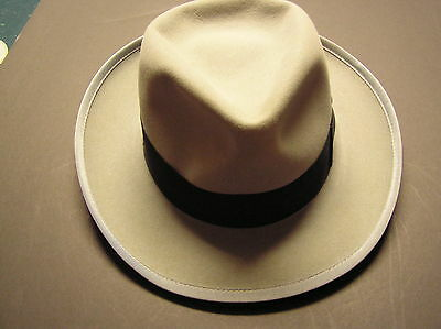 Men's 1940's Vintage Fedoro hat & box,steel gray,6-7/8, Made St.Louis,Mo.