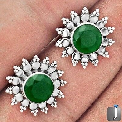 4.07cts GREEN EMERALD QUARTZ 925 STERLING SILVER STUD EARRINGS JEWELRY F25673