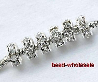 20Pcs Lot Big Hole Silver Plated Clear Rhinestone Spacer Beads FOR Bracelet 10mm