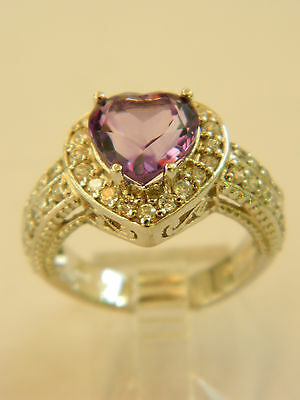 BEAUTIFUL  STERLING SILVER RING AMETHYST HEART CZ  AND WHITE ACCENT STONES SZ 7
