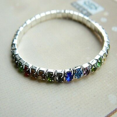 New silver plated stretch 1row mixed Rhinestone women party bracelet bangle BR40