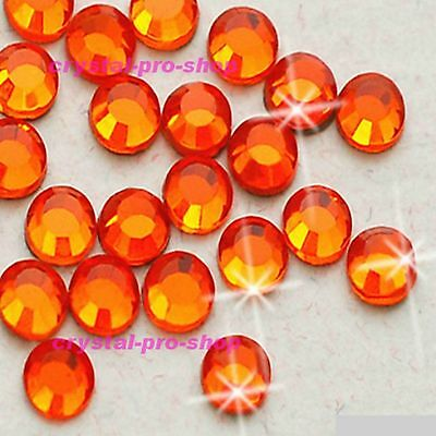 (Any SIZE) Orange Iron On Flatback Hot fix Rhinestones Crystal Glass Shine Nices