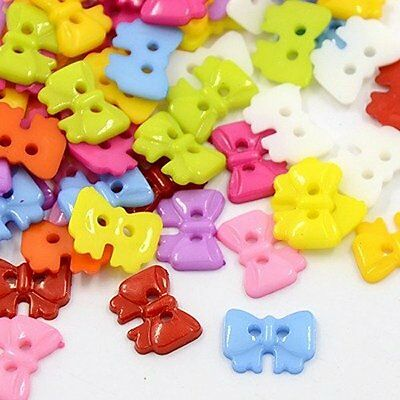100pcs Acrylic Bowknot Buttons 2-Hole Mixed Color Sewing Craft X-BUTT-E023-B-M
