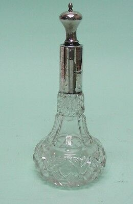 Sterling Silver and Cut Glass Scent Bottle Wilmot Manufacturing Co England 1924