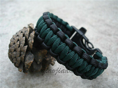 New 550 ParaCord Survival Bracelet 7-Stands Black And Dark Green