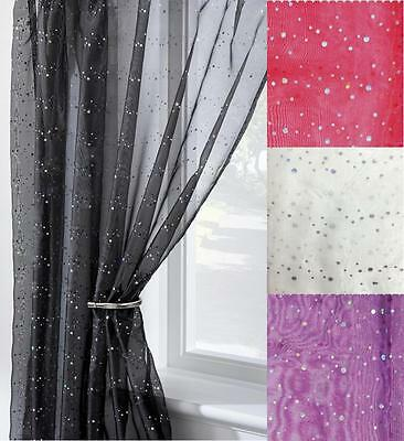 DISCO GLITTER VOILE CURTAIN PANEL SLOT TOP HEADER ~ Many Colours & Sizes