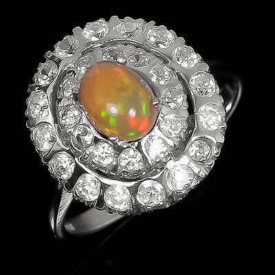 New Arrived! Natural Opal Sterling 925 Silver Ring Size 8/R5348