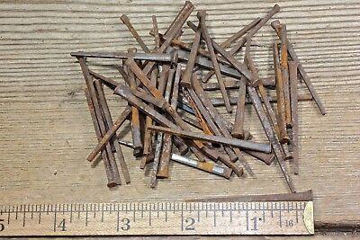 "2"" NAILS 50 in lot light rust vintage 1850's old standard square wrought iron"