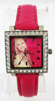 Disney Womens Pink Dial Hanna Montana Silver-tone SS Leather Strap Watch HM1106