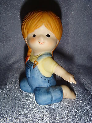 Country Cousins - Red Headed Girl in Blue Coveralls Kneeling & Pointing - 1980