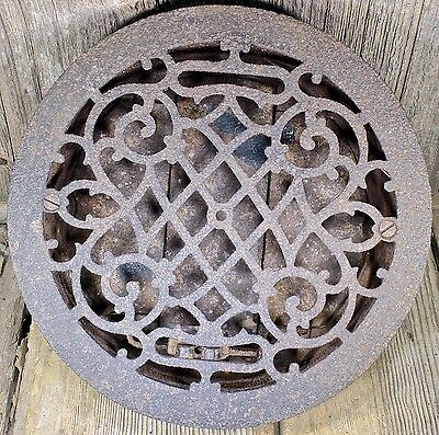 "old Heat Air conditioning grate only register round 9 1/2"" pitted iron curls"