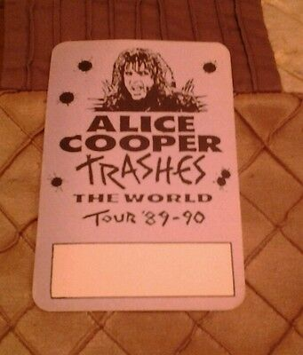 Alice Cooper 1989-90 Thrashes The World Tour  Backstage Pass STARLINER *RARE*