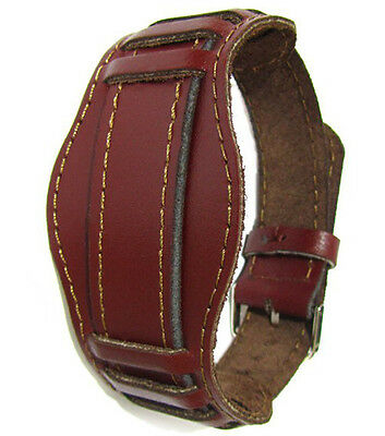 Vintage 20 mm BORDO MAROON OLD USSR WATCH BAND MILITARY Soviet Russian Leather