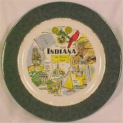 Indiana The Hoosier State Plate Souvenir Vintage Notre Dame Santa Claus Land