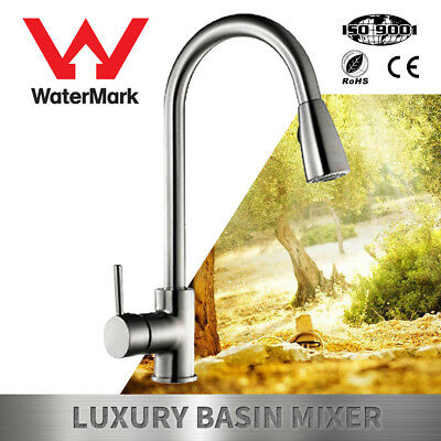 Kitchen Sink Basin Mixer Faucet Swivel Pull Out Spout watermark WELS Hose Tap