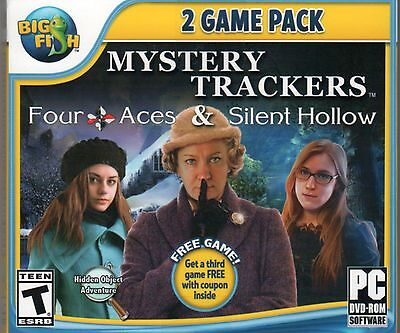 Mystery Trackers FOUR ACES + SILENT HOLLOW Hidden Object + Bonus Game PC DVD NEW