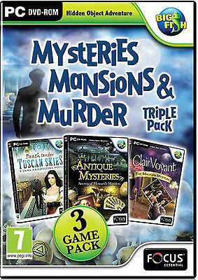 MYSTERIES, MANSIONS & MURDER Hidden Object 3 PACK PC Game DVD-ROM NEW