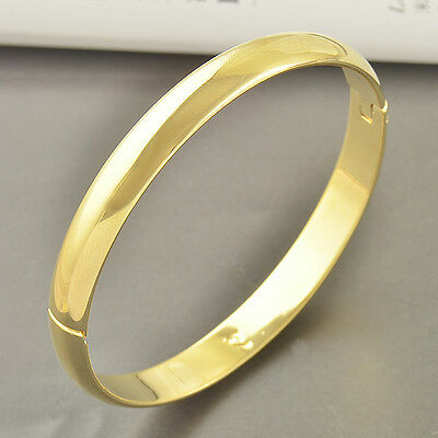 58MM Smooth Yellow Gold Filled Bangle Bracelet Hiden Clasp Wide 8mm,F3399